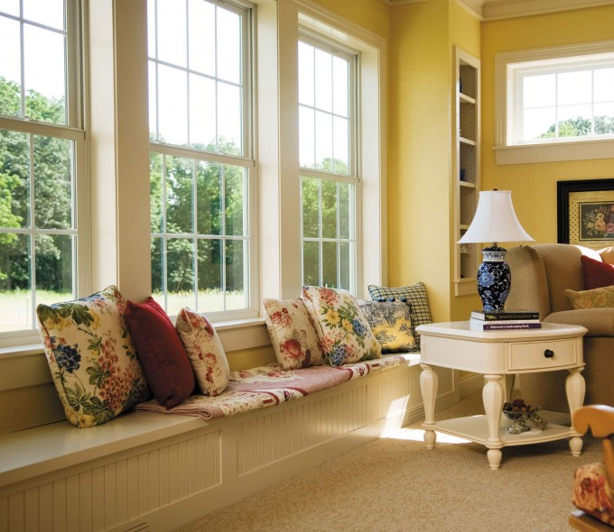 White Single Hung Pella Windows Matched With Yellow Wall Plus Sofa And Cushions Ideas