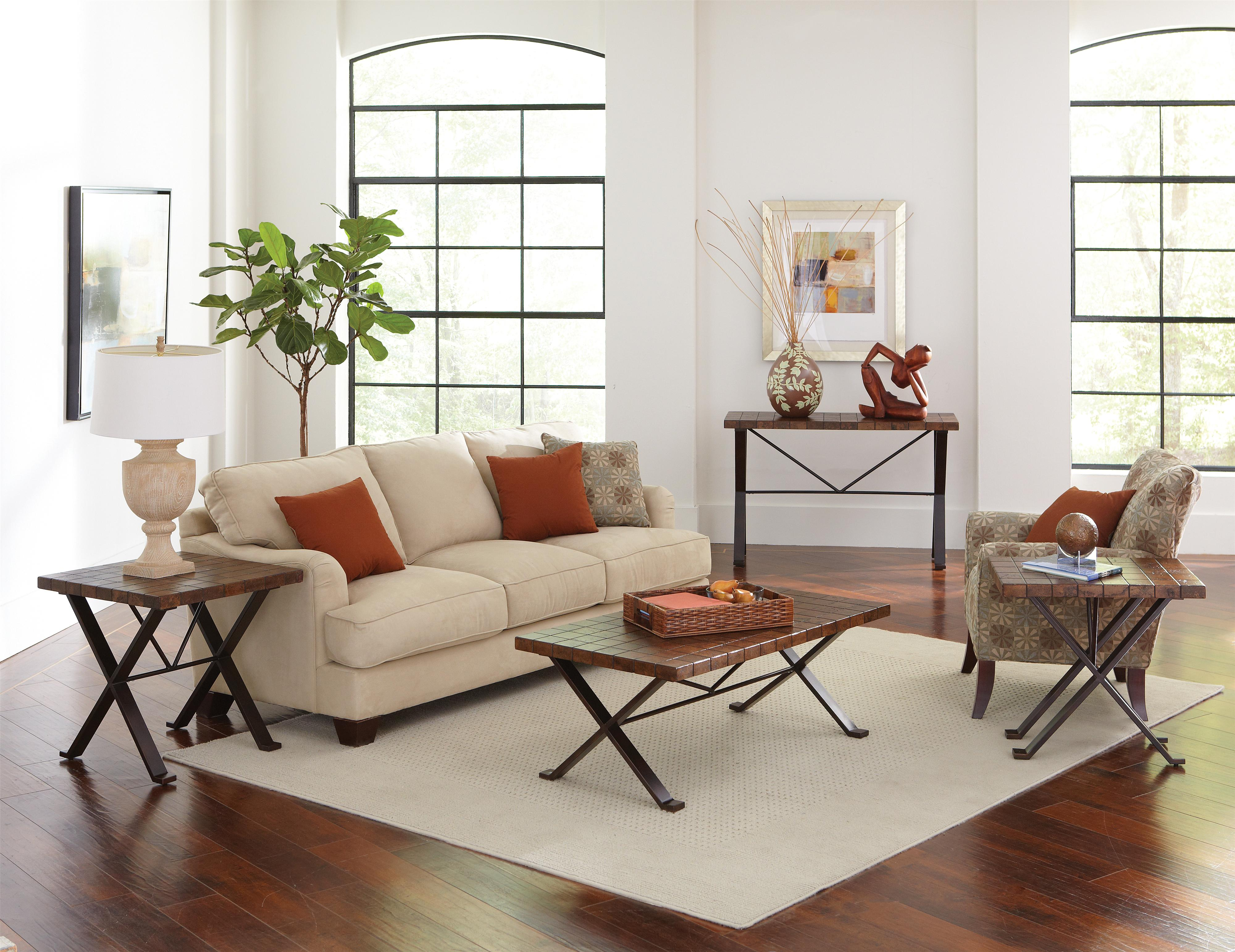 White Sofa By Sprintz Furniture With Orange Cushion And White Carpet On  Wooden Floor For Living