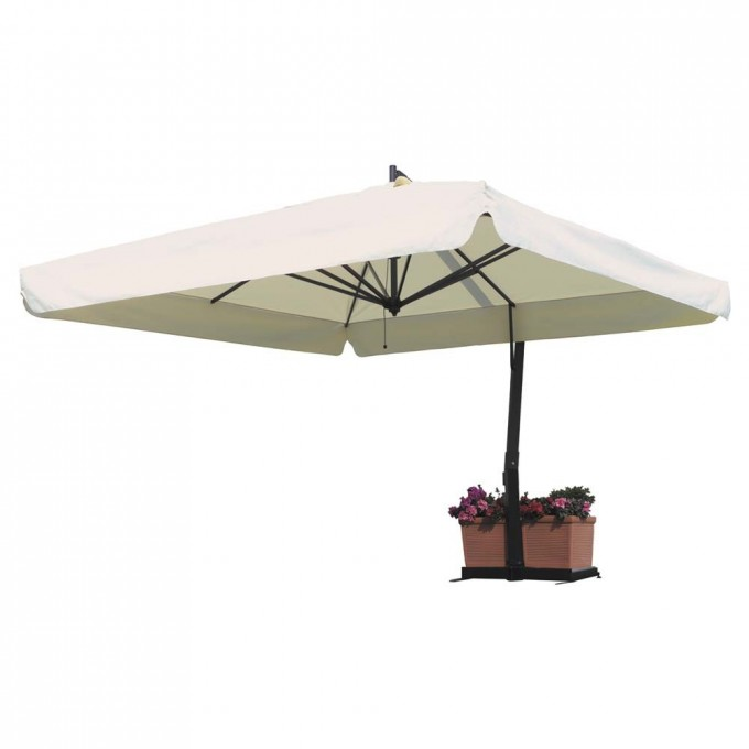 White Square Cantilever Umbrella With Black Stand For Patio Furniture Ideas