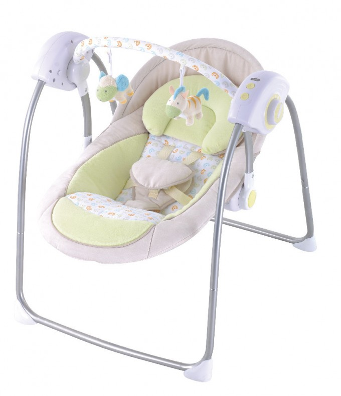 White Swingasan Chair In White And Green Theme With Iron Stand For Baby Chair Ideas