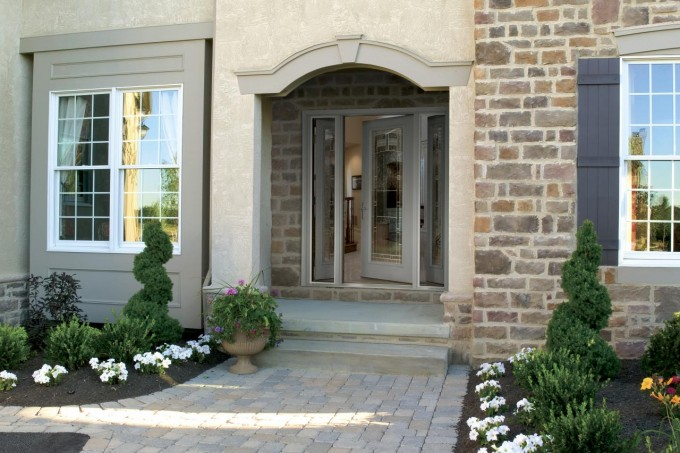 White Therma Tru Entry Doors Matched With Natural Stone Wall Plus White Ceramics Floor Ideas