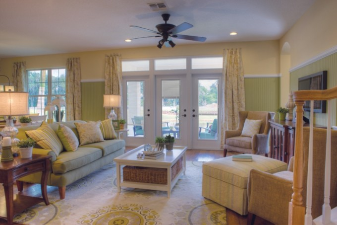 White Therma Tru Entry Doors Matched With Olive Tall Wainscoting Wall Plus Sofa Sets Ideas