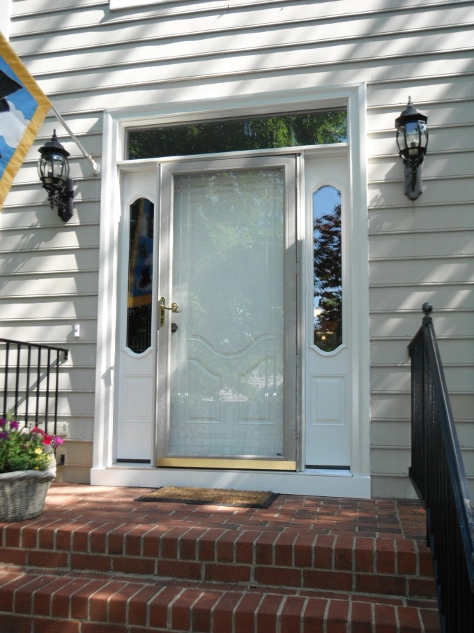 White Therma Tru Entry Doors Matched With White Wall Plus Double Lamps Ideas