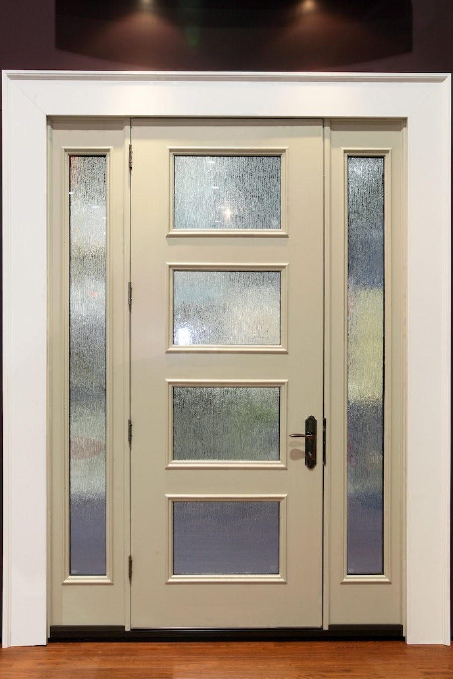 white therma tru entry doors with black handle and white door wainscot ideas