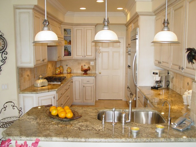 White Thomasville Cabinets With Wheat Countertop And White Tile Back Splash Plus Oven For Kitchen Furniture Ideas