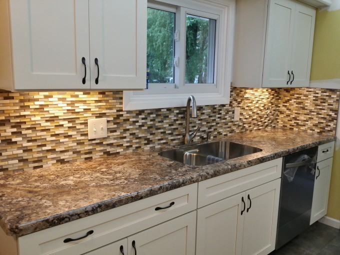White Wellborn Cabinets With Nice Countertop Plus Sink And Faucet For Kitchen Ideas