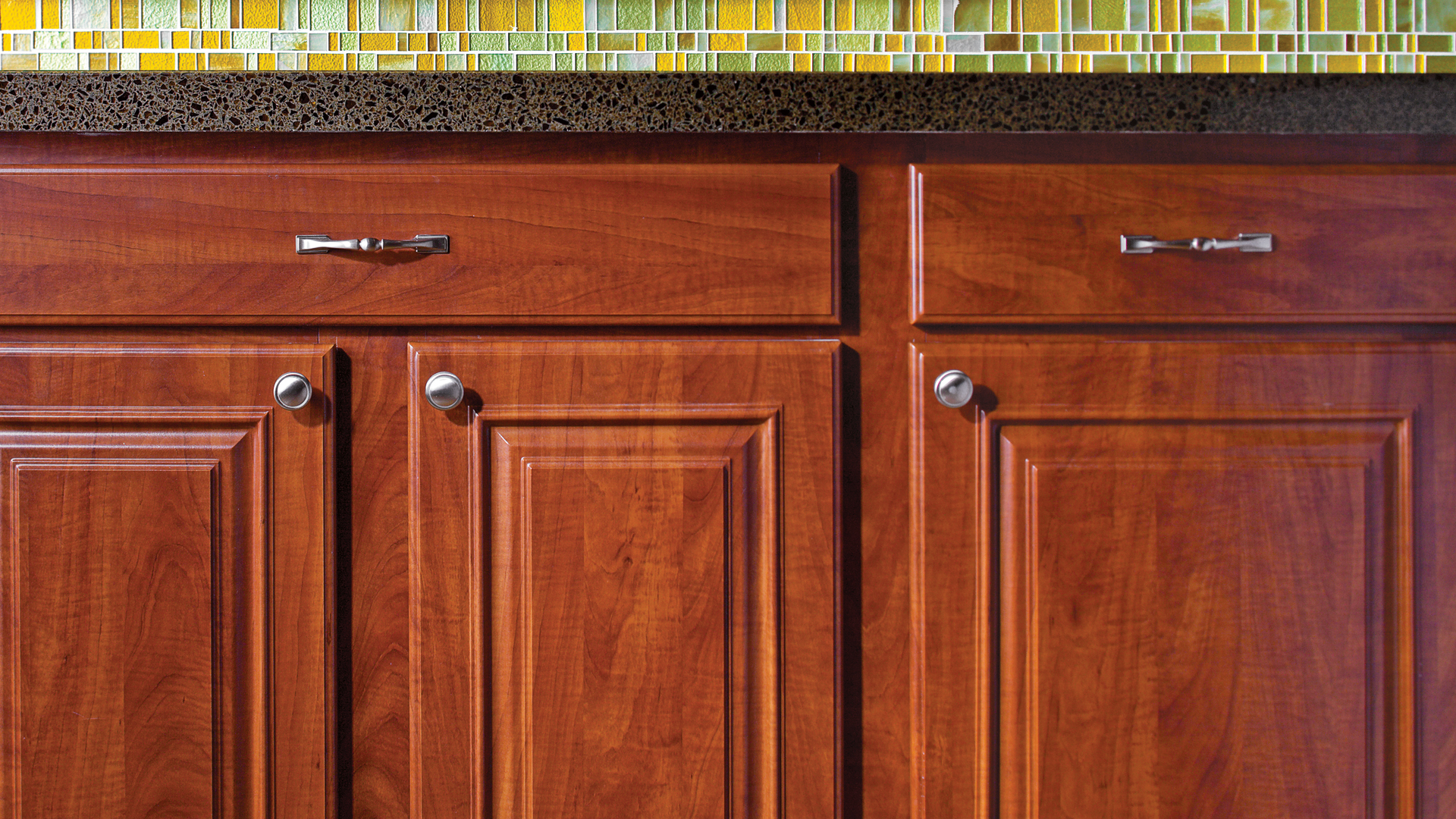 wonderful Kitchen cabinet refacing with silver handle and darkslategray countertop and colorful wallpaper
