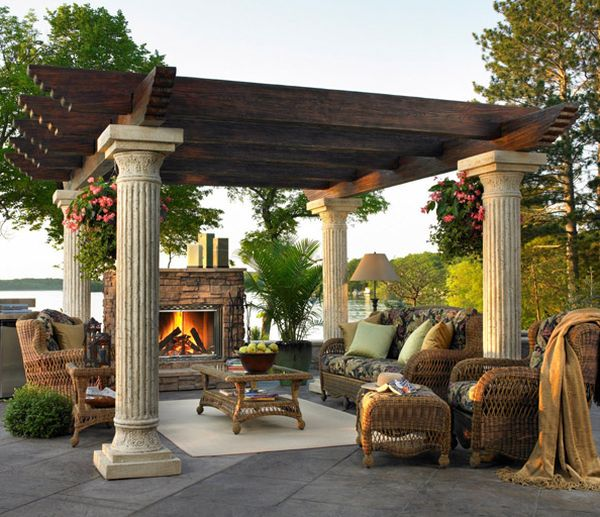 wonderful pergola plans with wheat pole ideas with sofa set and cushions plus amazing fireplace for yard decor inspiration