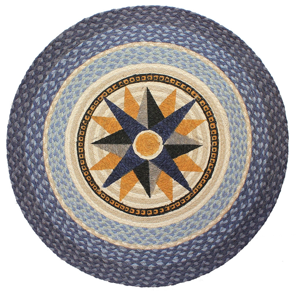 wonderful round Braided Rugs in multicolor with star motif at center for floor decor ideas