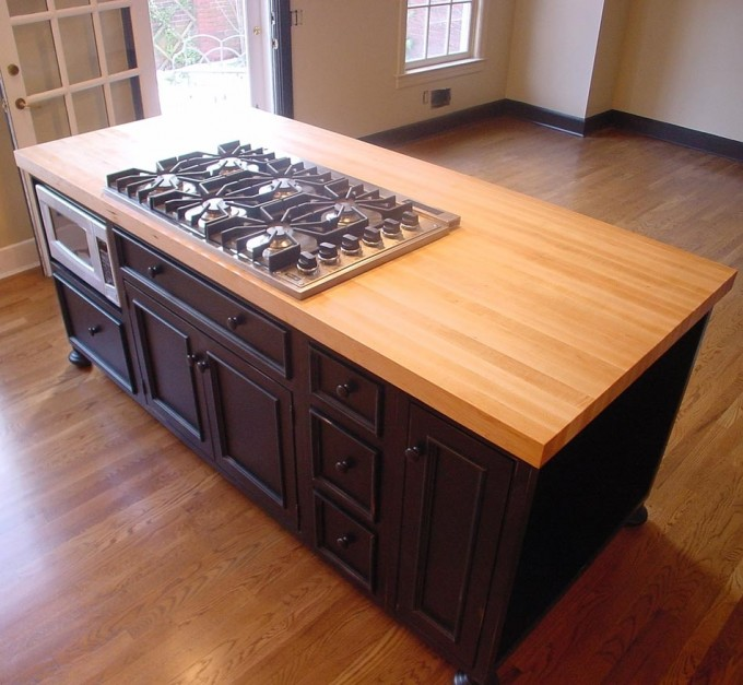 Wood Butcher Block Countertops With Oven And Black Cabinet Ideas