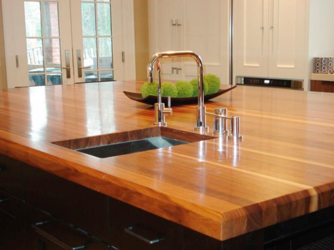 Wood Butcher Block Countertops With Sink And Faucet For Kitchen Furniture Ideas