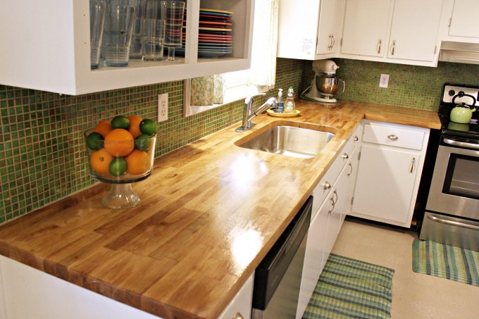 Wood Butcher Block Countertops With White Cabinet Plus Sink With Faucet For Kitchen Furniture Ideas
