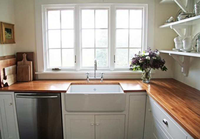 Wood Butcher Block Countertops With White Sink And Cabinet For Kitchen Decor Ideas