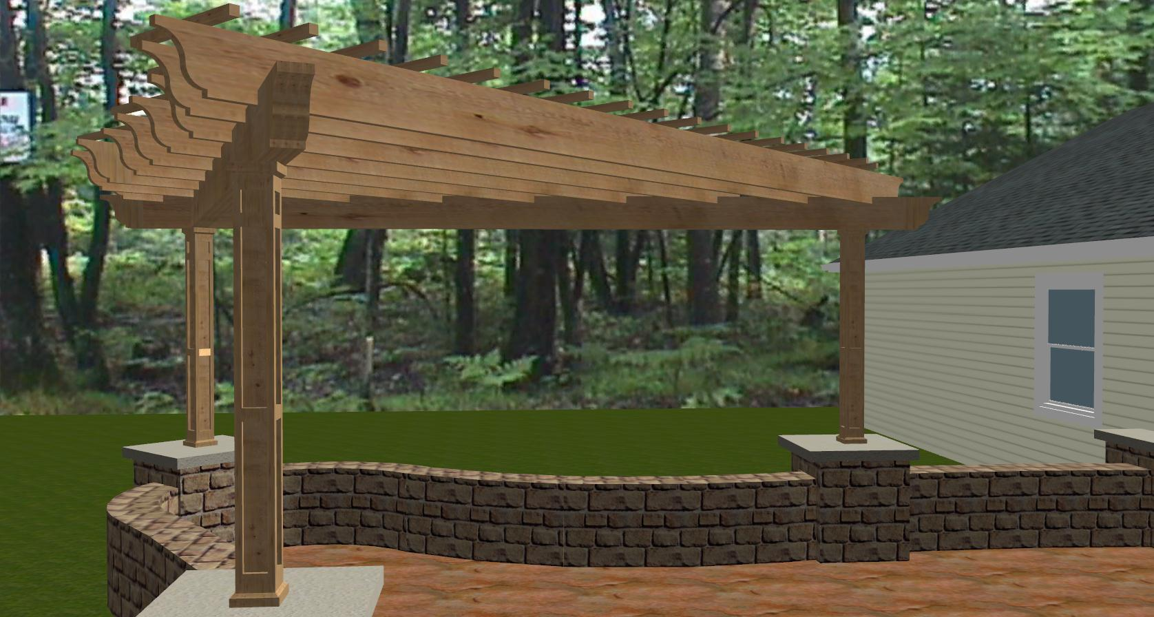 Wood Pergola Plans with stone veneer panels partition