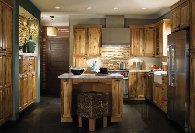 Wooden Aristokraft Cabinets With White Countertop And Oven Plus Black Ceramics Floor For Kitchen Ideas