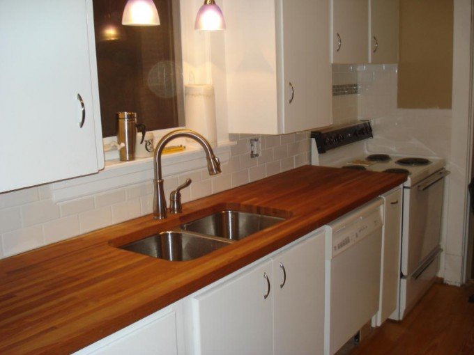 Wooden Butcher Block Countertops With Sink And Faucet Plus White Cabinets For Kitchen Furniture Ideas