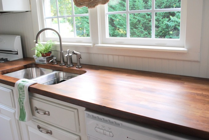 Wooden Butcher Block Countertops With White Cabiinet Plus Sink With Faucet For Kitchen Furniture Ideas