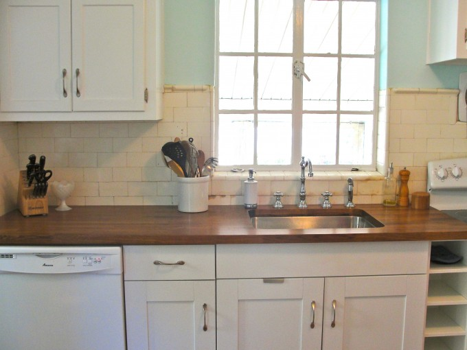 Wooden Butcher Block Countertops With White Cabinet Plus Sink And Faucet For Kitchen Furniture Ideas