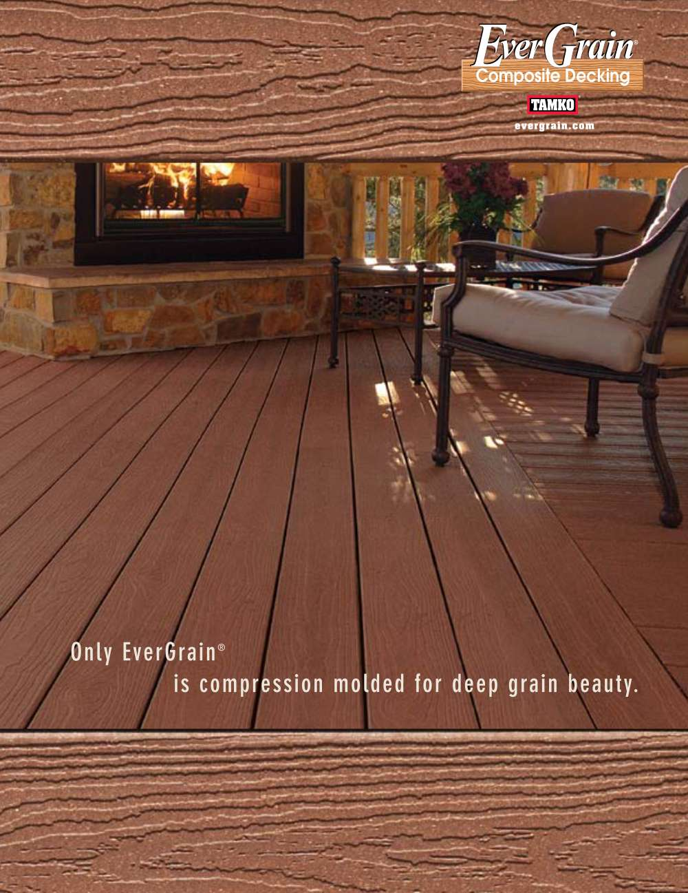 wooden dark brown evergrain decking plus sofa set and fireplace for patio decor ideas
