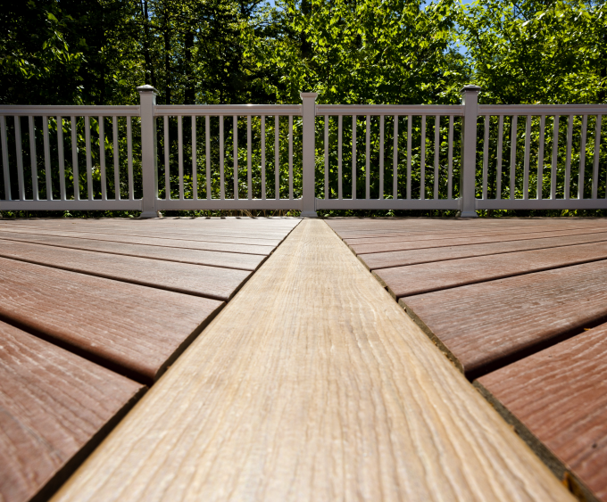 Wooden Evergrain Decking Matched With White Railing For Deck Ideas