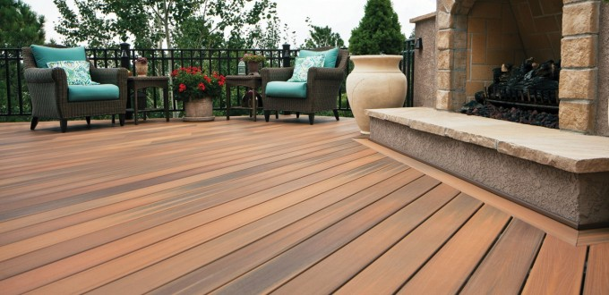 Wooden Evergrain Decking Plus Black Railing And Single Sofa With Blue Cusion For Patio Decor Ideas