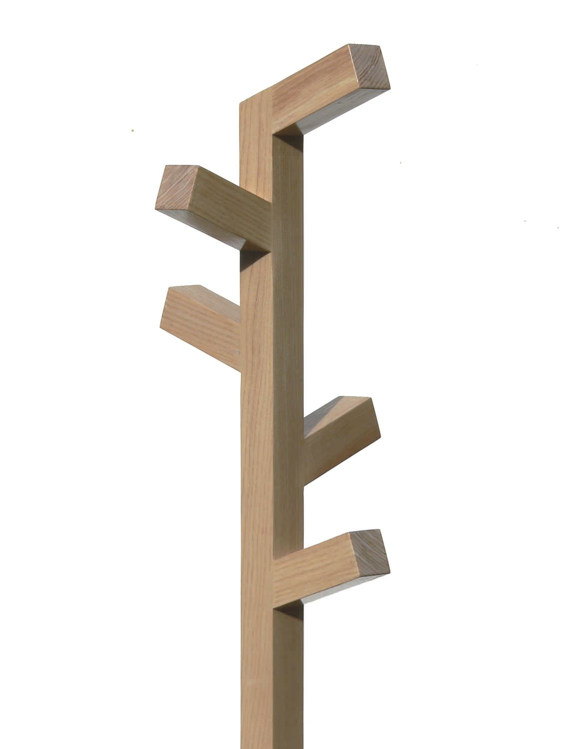 wooden Floor standing coat rack with staight hooks