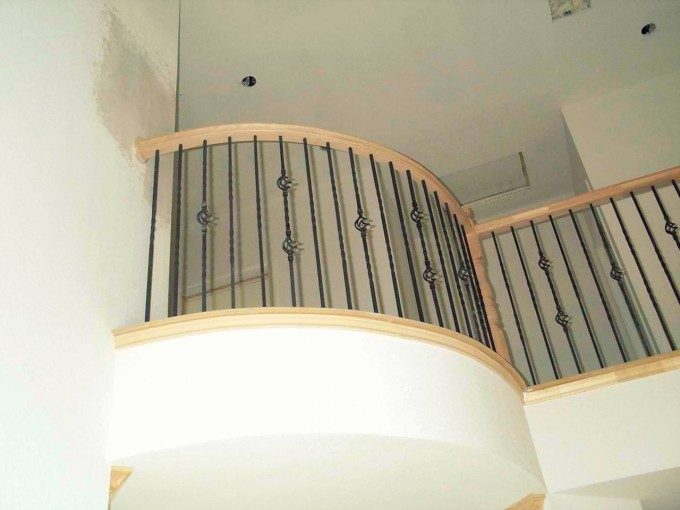 Wooden Handrails For Stairs Ideas With White Ceiling And White Wall