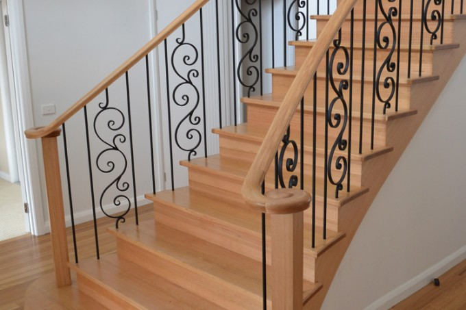 Wooden Handrails For Stairs In Cream Plus Curves Ornament Ideas Wih Wooden Floor And White Wall