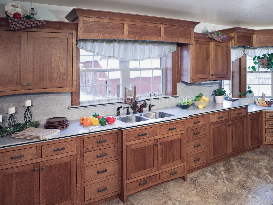 wooden Kitchen Cabinet refacing plus sink with modern kitchen faucet under the white hung window