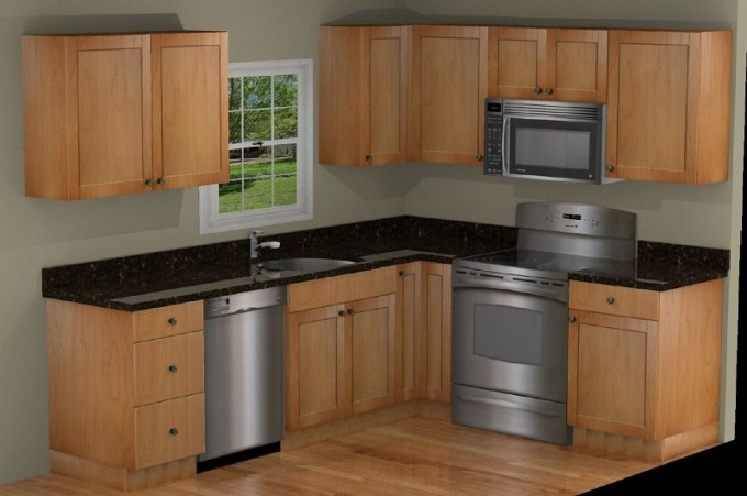 Wooden Kitchen Cabinet Refacing With Black Countertop Plus Silver Oven And Sink Under The White Window And Gray Wall