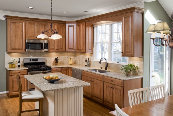 Wooden Kitchen Cabinet Refacing With Oven And Sink With Kitchen Faucet Under The Window Plus Chandelier For Kitchen Ideas With Wooden Floor