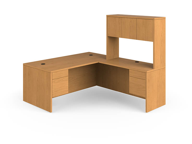 wooden L Shaped Desk with Hutch and drawer plus computer stand for smart furniture ideas