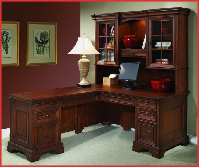 Wooden L Shaped Desk With Hutch And Drawer With Peru Handle Plus Computer Stand For Home Office Furniture Looks Elegant With Charming Table Standing Lamp