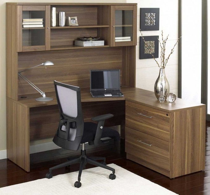 Wooden L Shaped Desk With Hutch And Drawers Ideas With Cair And Table Study Lamp And Laptop