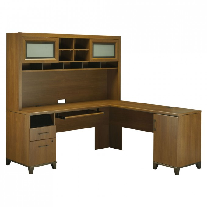 Wooden L Shaped Desk With Hutch And Storage Plus Computer Stand For Smart Home Office Furniture Ideas