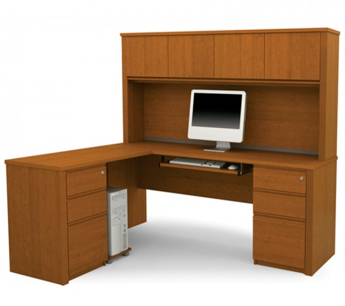 Wooden L Shaped Desk With Hutch Plus Drawer And Computer Stand For Home Office Furniture Ideas