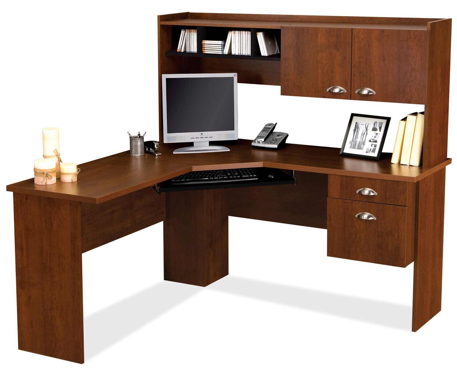 wooden l shaped desk with hutch plus drawer and computer stand ideas plus computer set and books