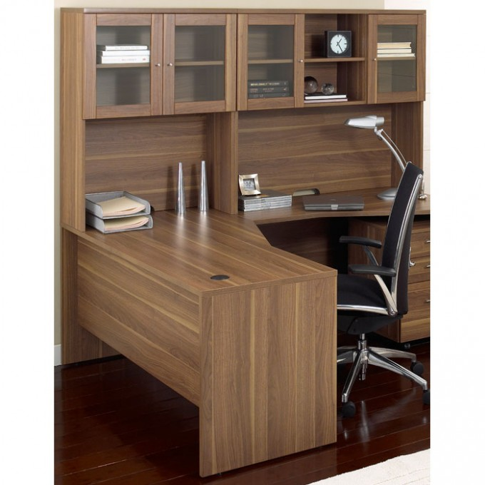 Wooden L Shaped Desk With Hutch Plus Storage Ideas Plus Laptop And Armchair