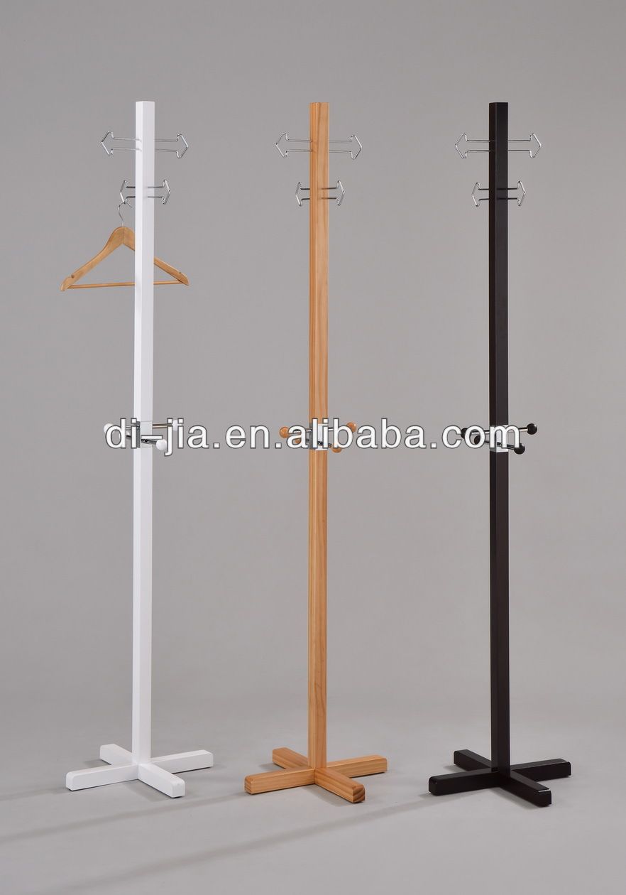 wooden modern standing coat rack with stainless steel hooks in three option colors