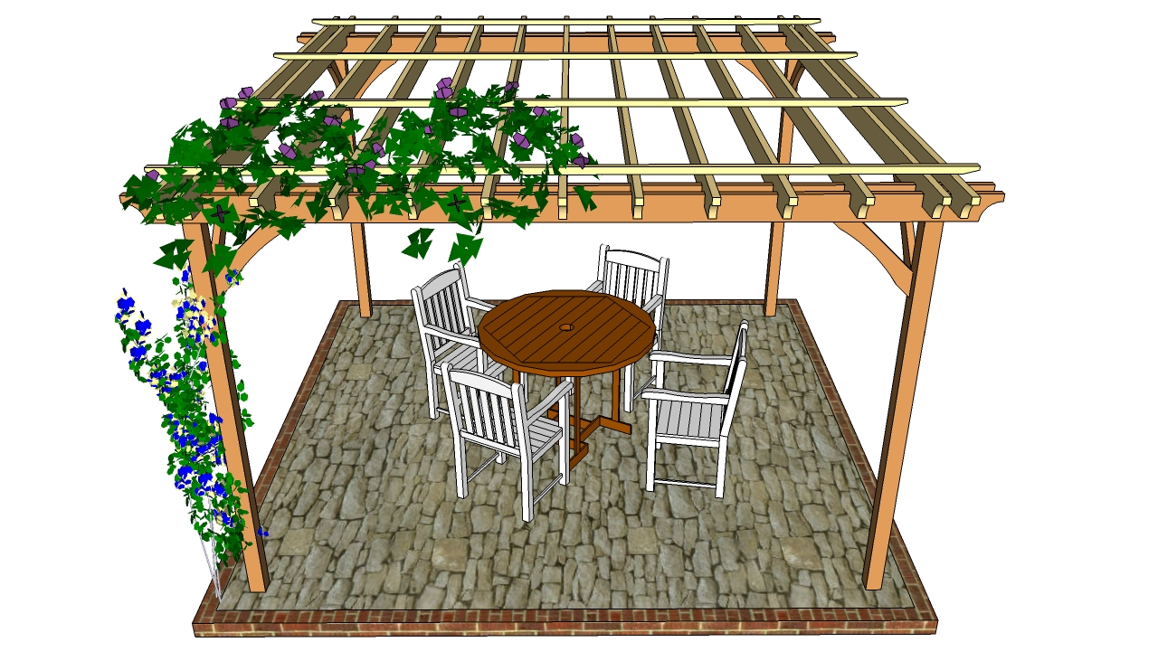 wooden Pergola Plans ideas with four chairs and a table on stoone floor