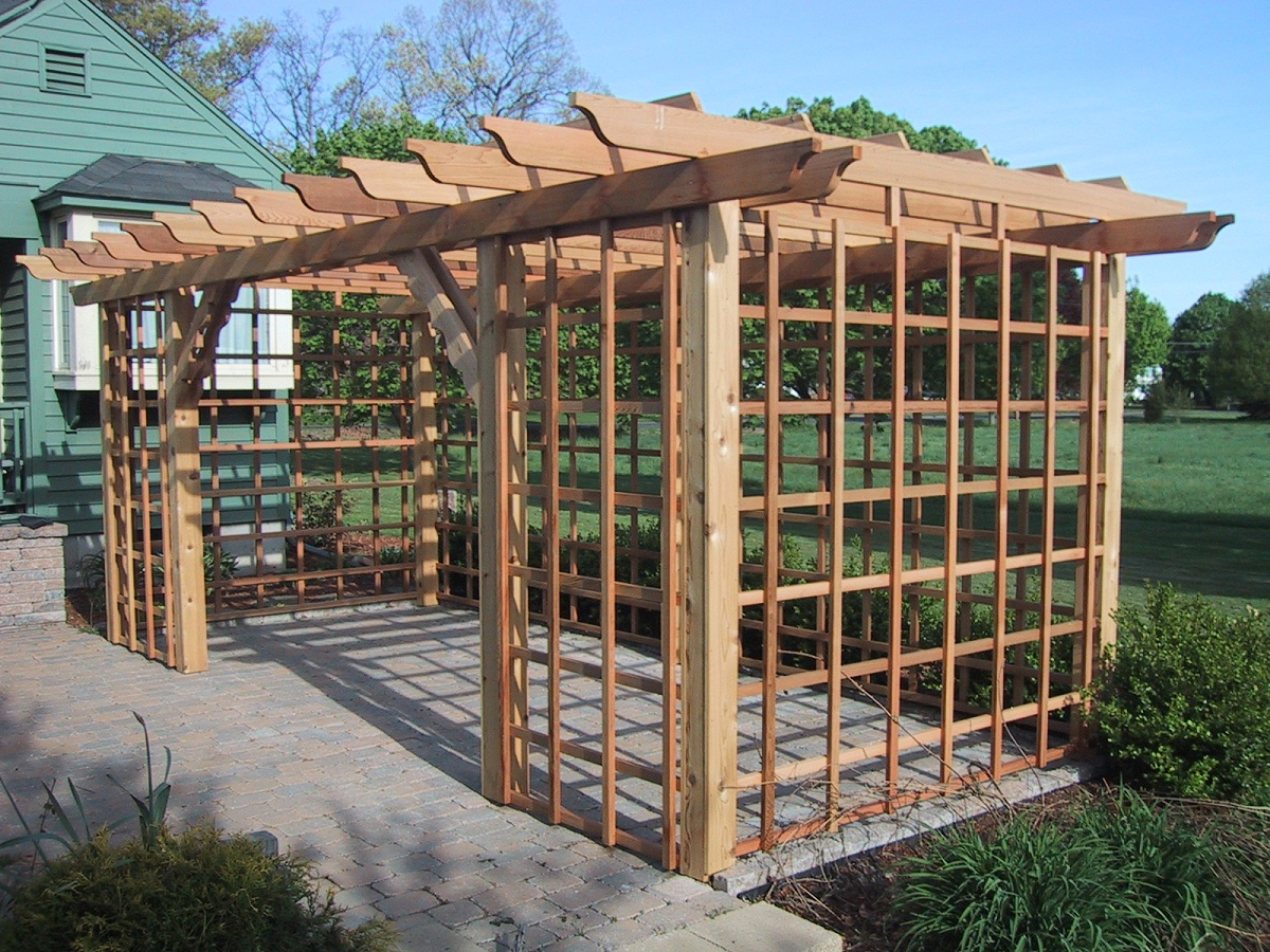 wooden Pergola plans on brick floor for beutiful backyard ideas