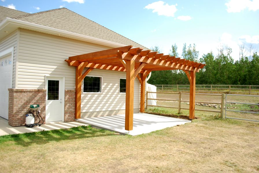 wooden pergola plans on white house with white door and double window for interior design ideas