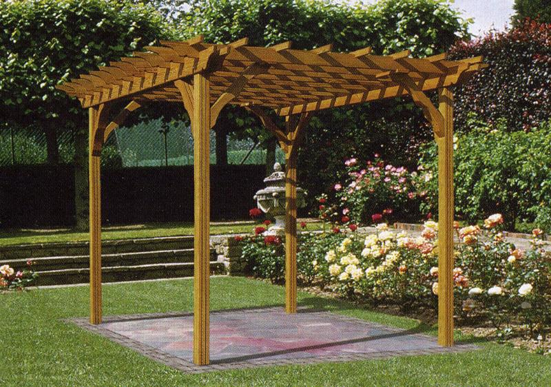 wooden pergola plans with four props near roses for beautiful yard ideas