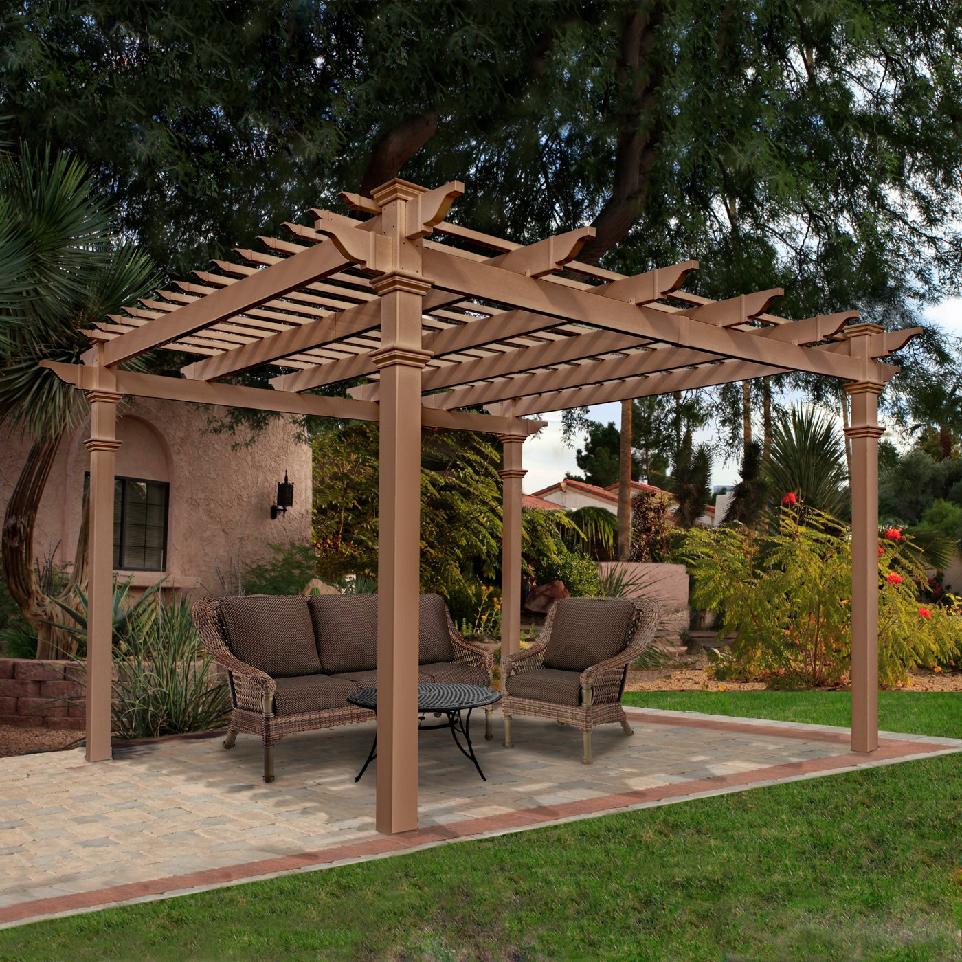 wooden pergola plans with tan sofa set on beautiful yard