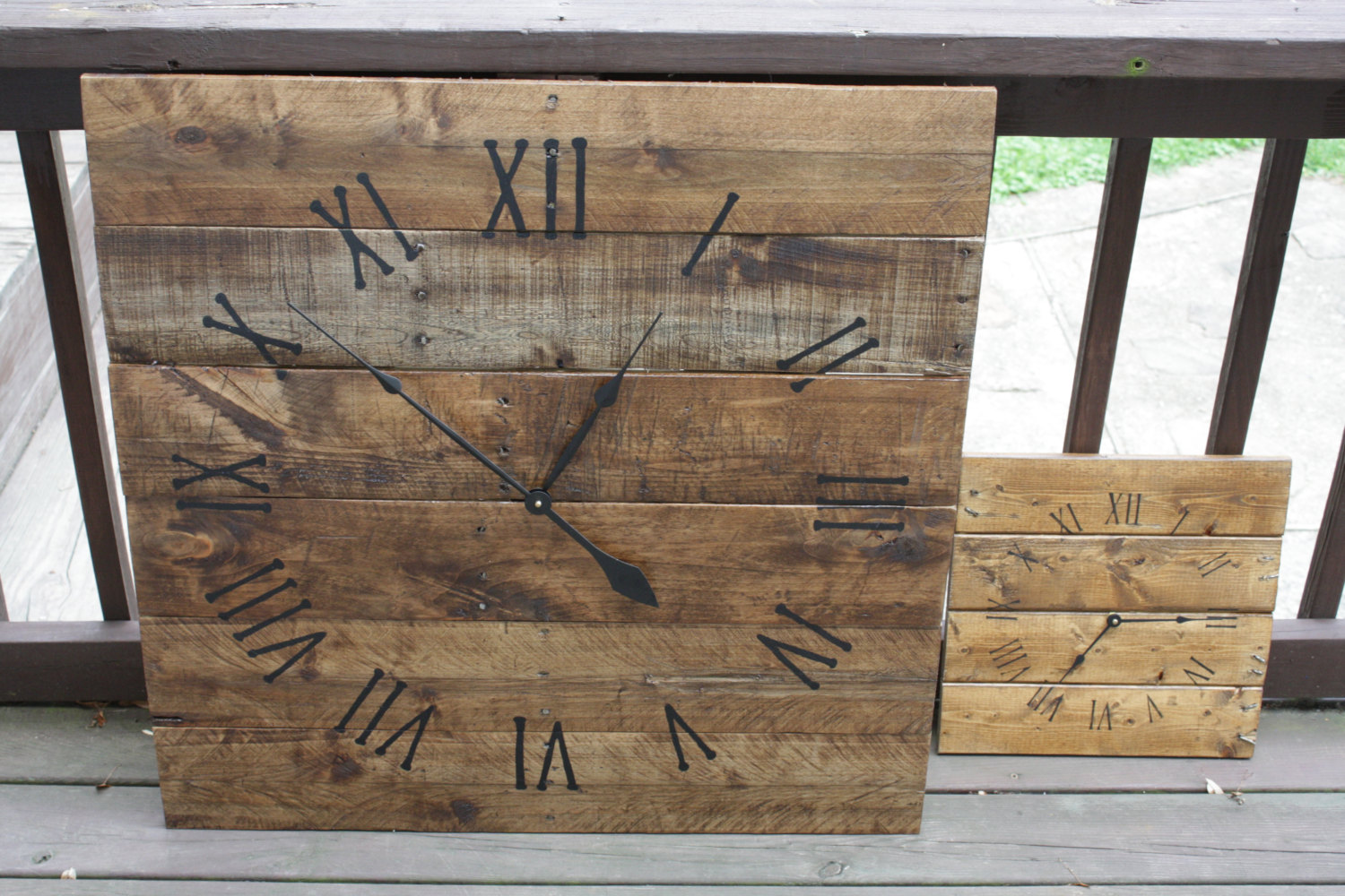 wooden rectangle oversized wall clock with black numeral and black hand