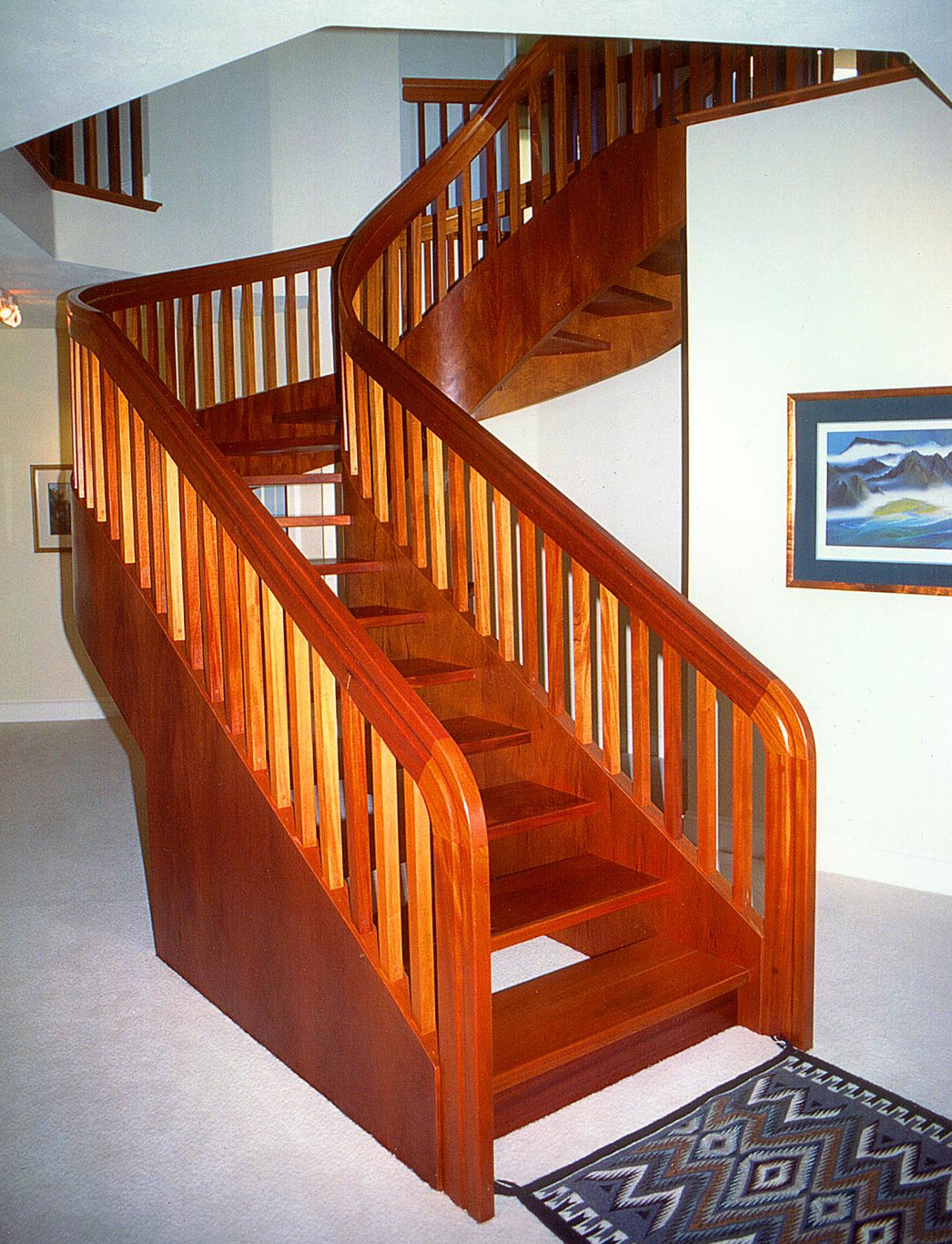 Wooden Stairs With Wooden Handrails For Stairs Ideas With White Wall Plus  Picture And Ceremics Floor