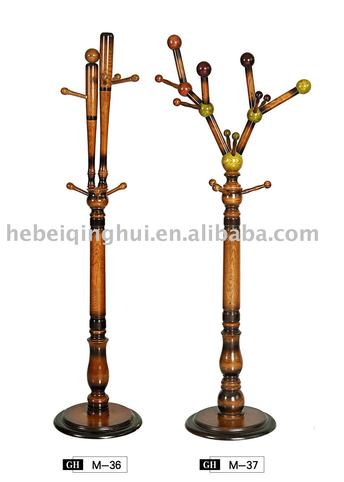 wooden standing coat rack with many hooks