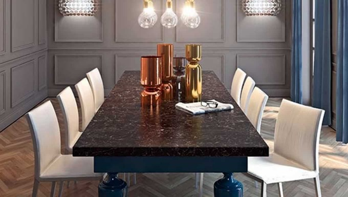 Woodlands New Colour Range From Supernatural Collection Series By Caesarstone For Dining Table Matched With White Chairs For Dining Table Ideas