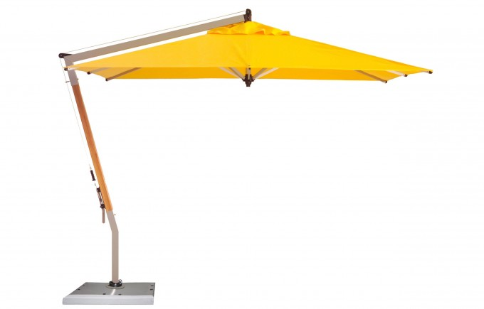 Yellow Cantilever Umbrella With Metal Stand For Outdoor Furniture Ideas
