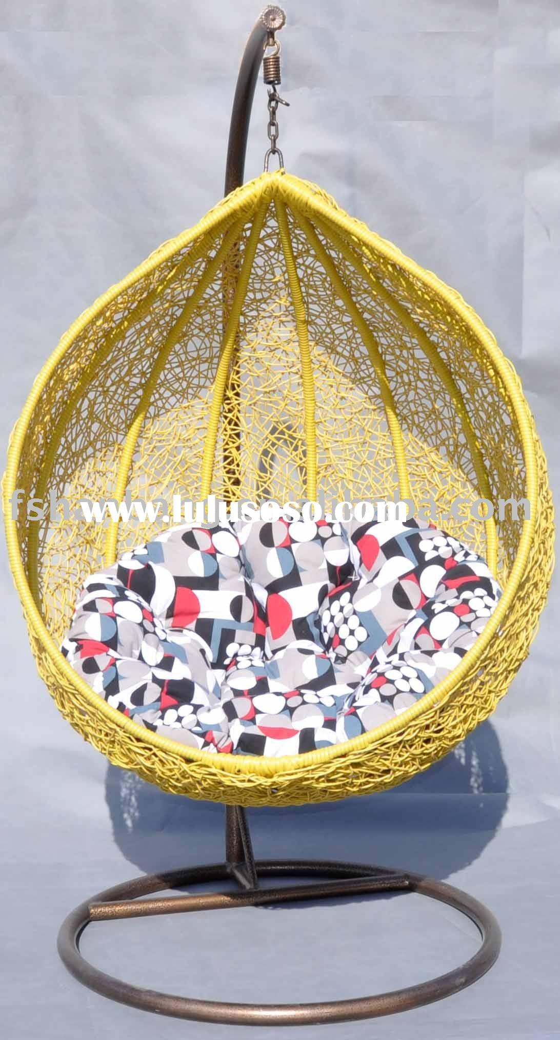 furniture outdoor cream rattan swingasan chair with red seat cushion